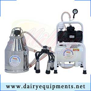 The principle of machine milking is to extract milk from the cow by vacuum.